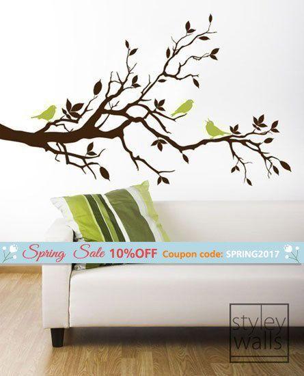 Aves de etiqueta-amor de pared árbol rama en rama con hojas