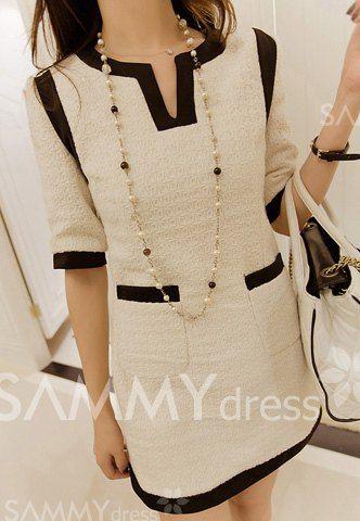 $12.19 Elegant Scoop Neck Color Block Pocket Embellished 1/2 Sleeve Women's Dress