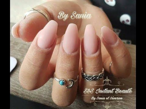 pose d'ongles en gel forme ballerine. - YouTube