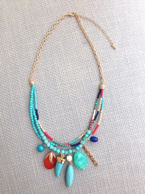 Seed Bead Pendant Necklace Boho Bohemian Statement by MaiKiwi