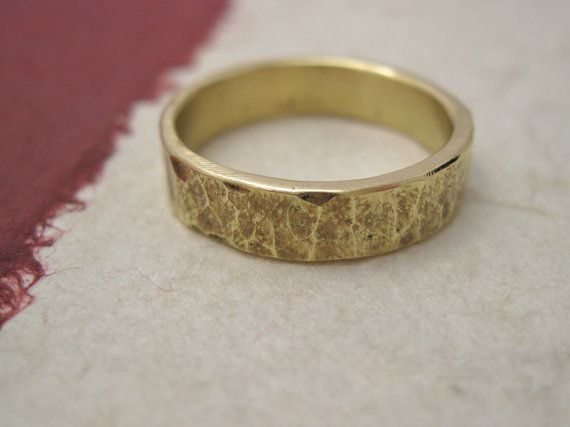 Chiseled Brass Band  forged brass hammered ring  by daganigioielli, $27.00