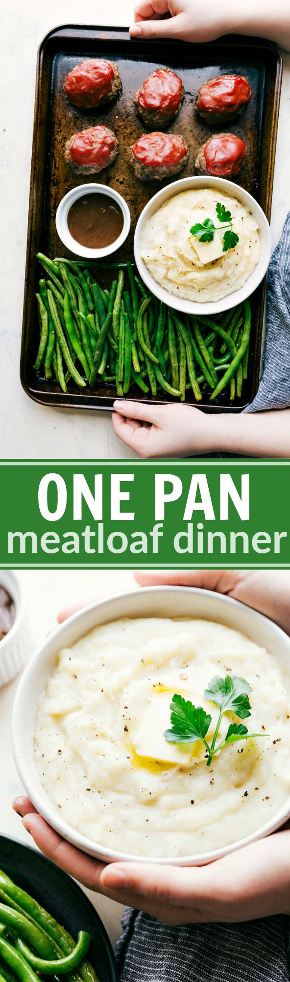 Mini Meatloaves, mashed potatoes, and roasted green beans all baked together on ONE sheet pan! An easy & impressive dinner! via chelseasmessyapro...