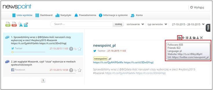 Kolejna nowość w panelu Newspoint! Zbieramy metadane (liczba followersów, znajomych itp.) z profili i kanałów w mediach społecznościowych. Przetestujcie! www.newspoint.pl/zamow-test/