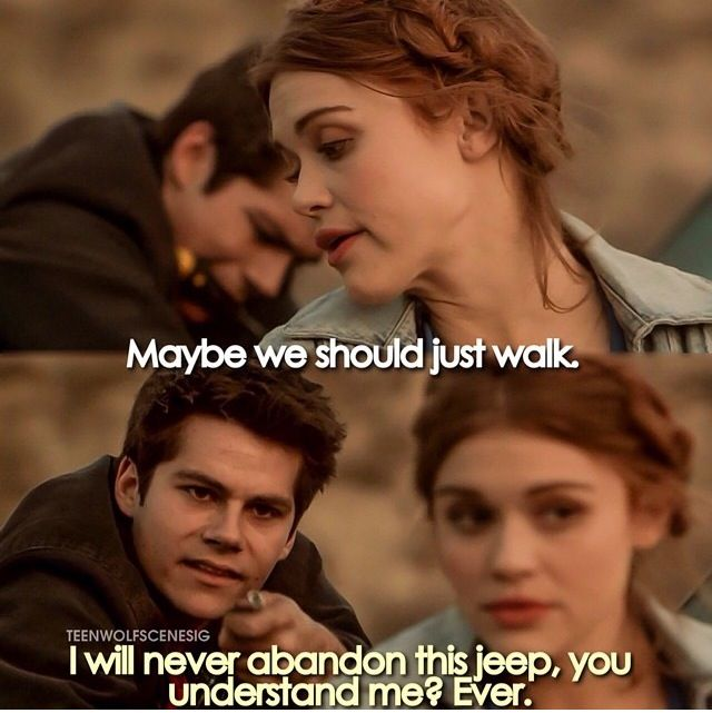 The romance between Stiles and his jeep is so strong <3