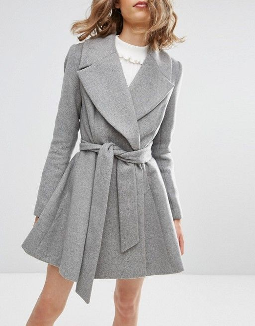 ASOS | ASOS Skater Coat in Wool Blend With Oversized Collar and Self Belt