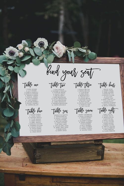 Escort board covered in greenery and flowers - seating chart - calligraphy seating chart - find your seat