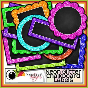 Neon Glitter Chalkboard Labels contains 54 neon, glitter framed, chalkboard labels as individual PNG CLIP ART files.  There are 9 colors and 6 styles.  Import the individual Clip Art to your editing program eg. Powerpoint and add text over the chalkboard.