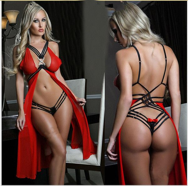 Strappy Mesh Rhinestone X Accent Babydoll Red Lingerie Set, Sexy babe