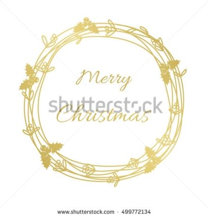 Christmas wreath gold. Vector illustration and raster copy.