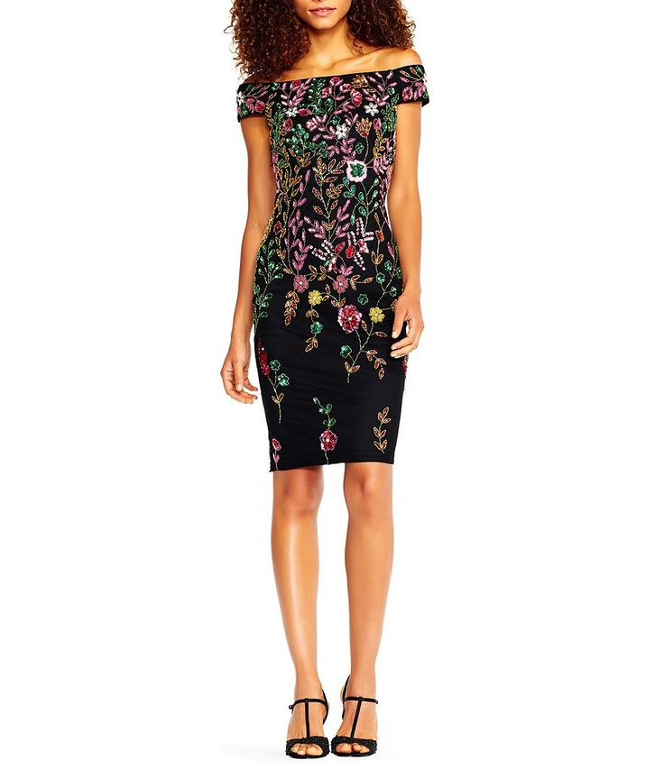 Adrianna Papell Off-the-Shoulder Multi Floral Sheath Dress