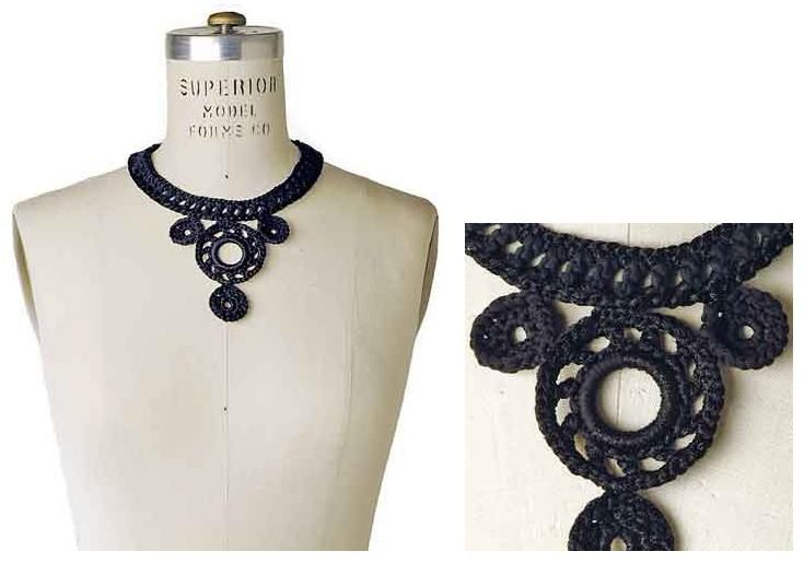 Ponte Vecchio is a symmetrical neck adornment made from crocheted medallions in bold black Boho - Berroco free pdf pattern