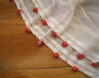 Aqua sjaal met kralen en stof boho driehoekige door PashaBodrum