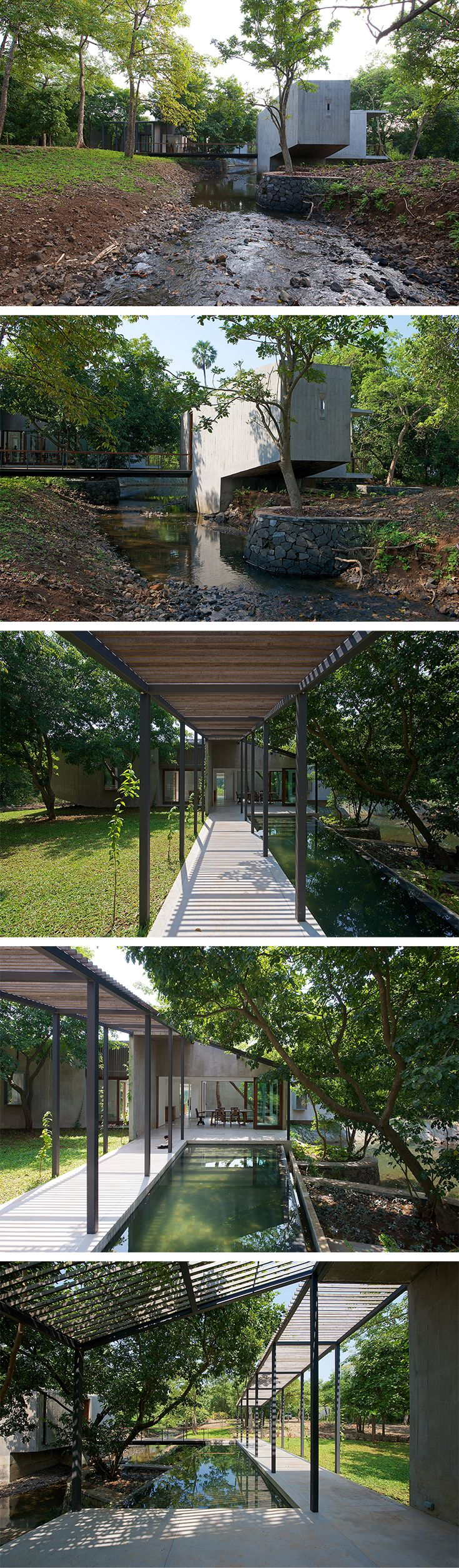 House on a Stream - The concrete house is situated in a Tropical Landscape with a seasonal stream running through it