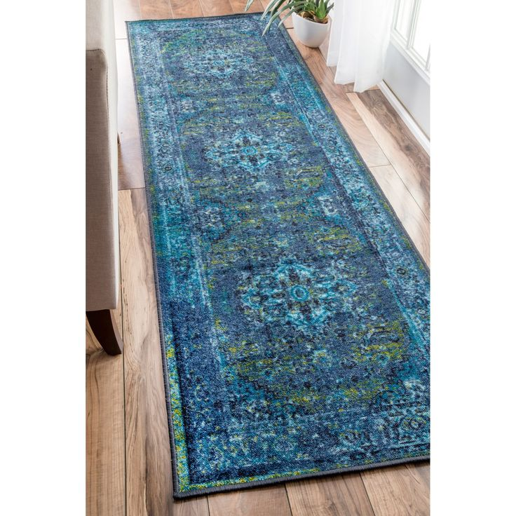 nuLOOM Traditional Vintage Inspired Overdyed Fancy Blue Runner Rug (2'6 x 8'6) (Blue) (Nylon, Abstract)