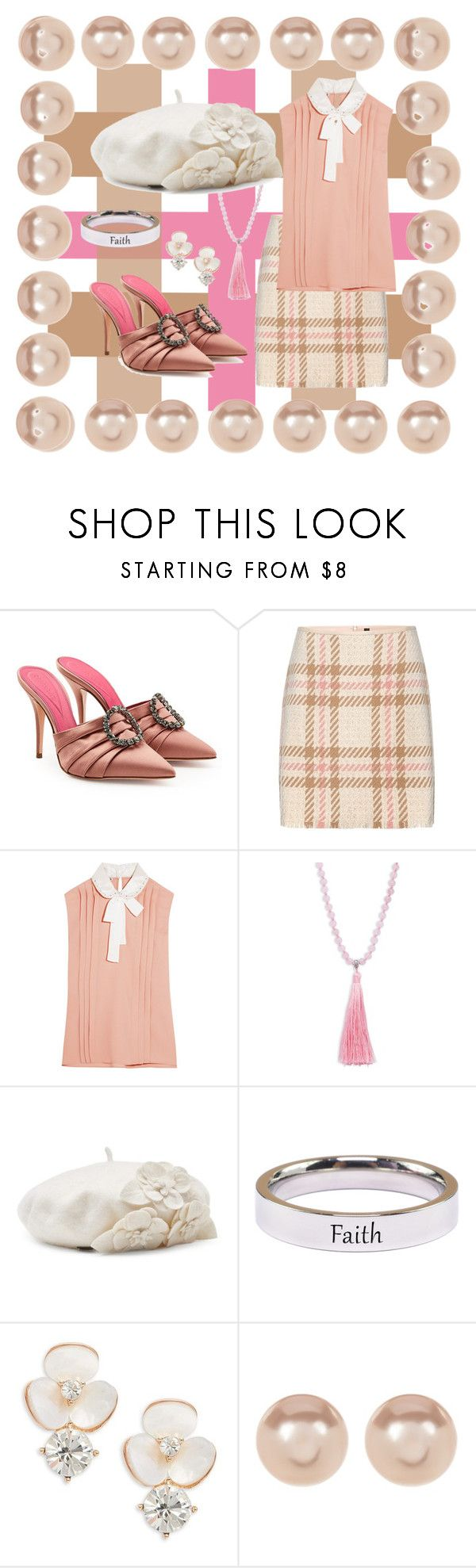 """Pink and Tan"" by the-big-l ❤ liked on Polyvore featuring Oscar Tiye, MARC CAIN, Miu Miu, Elise M., Betmar, Pink Box, Kate Spade, Nordstrom Rack and plaid"