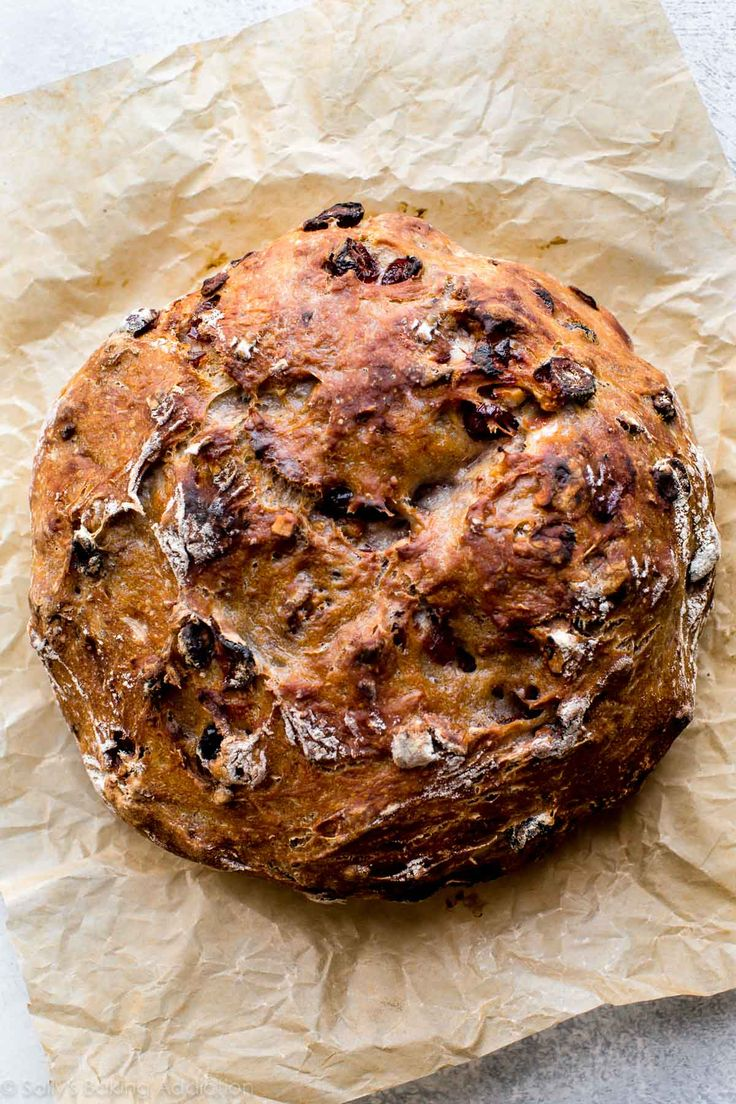 No-Knead Crusty Cranberry Nut Bread