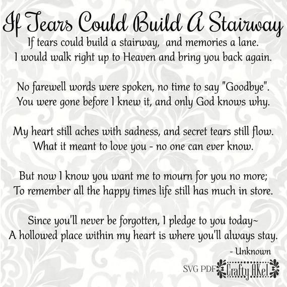 Download If Tears Could Build A Stairway - Bereavement - Mourning ...