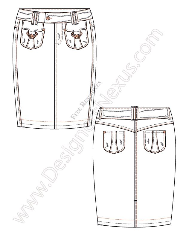 V49 Illustrator Vector Fashion Flat Sketch Pencil Skirt - FREE download in Adobe Illustrator or PNG with transparent background at www.designersnexus.com!