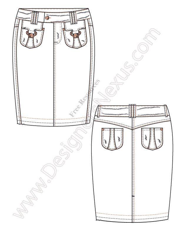 V49 Illustrator Vector Fashion Flat Sketch Pencil Skirt - FREE download in Adobe Illustrator or PNG with transparent background at www.designersnexus.com!