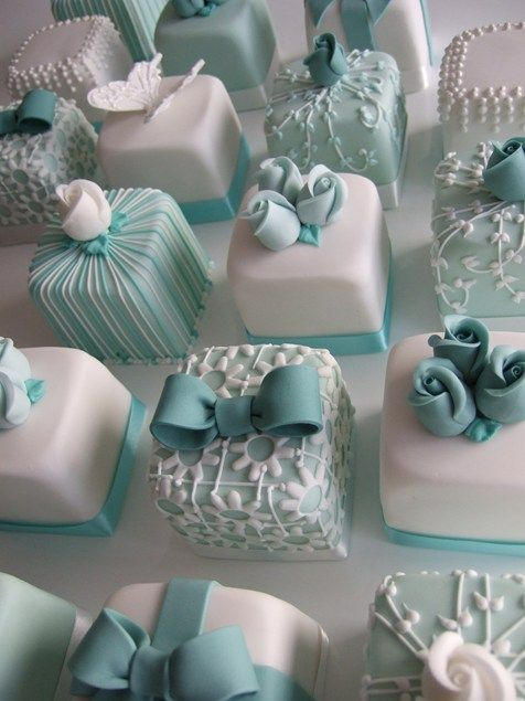 Fancy Blue Wedding Cakes -- They look like little Tiffany's boxes!