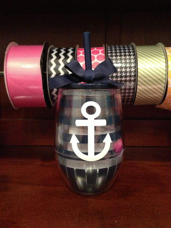personalized acrylic stemless wine glass with lid  u0026 straw  pink stripe
