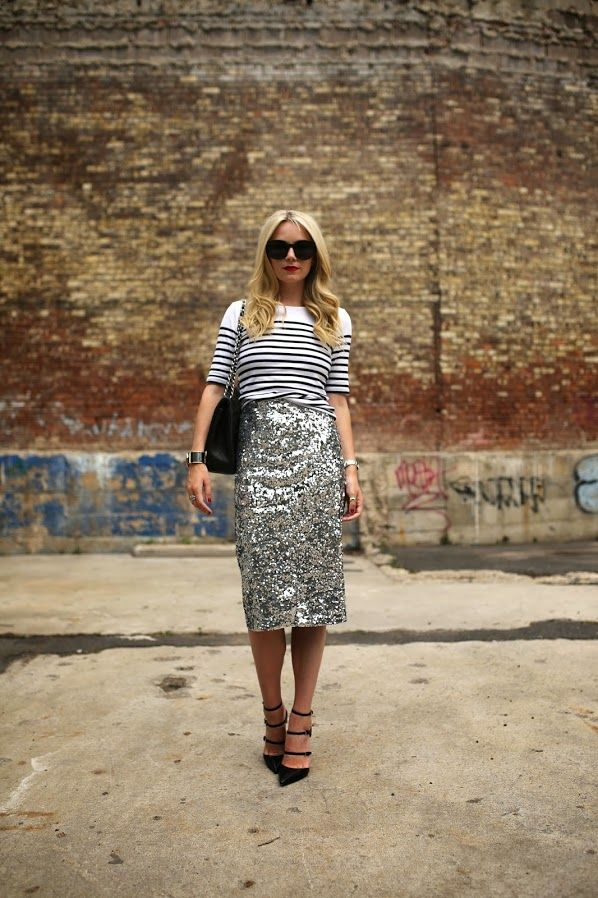 long sequined skirt and striped top