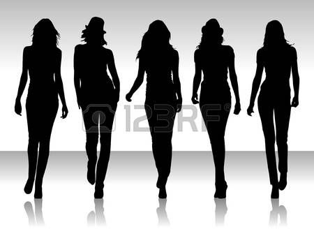 Vector illustration of isolated girs silhouette collegtion photo