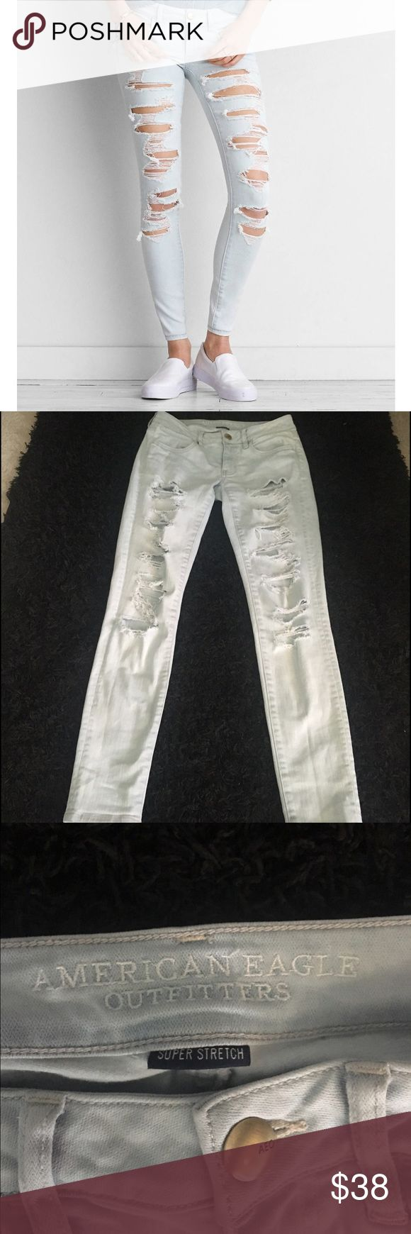 American Eagle Outfitters distressed jeans In good condition! Size 4 regular. Super stretch. American Eagle Outfitters Jeans Skinny