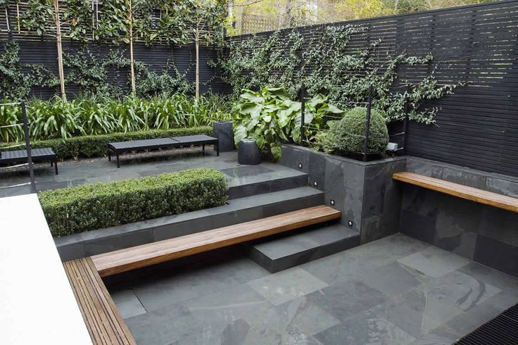 sunken courtyard garden timber seat becomes step