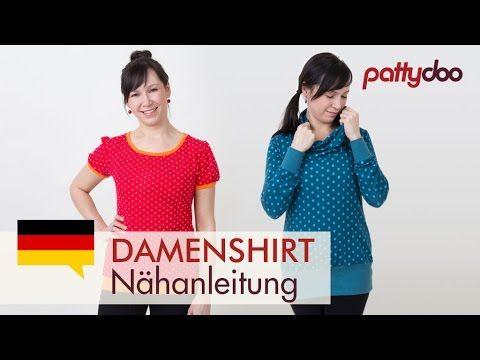 Shirt selber nähen - Rollkragen, Puffärmel, Bündchen - pattydoo tutorial #11 - YouTube