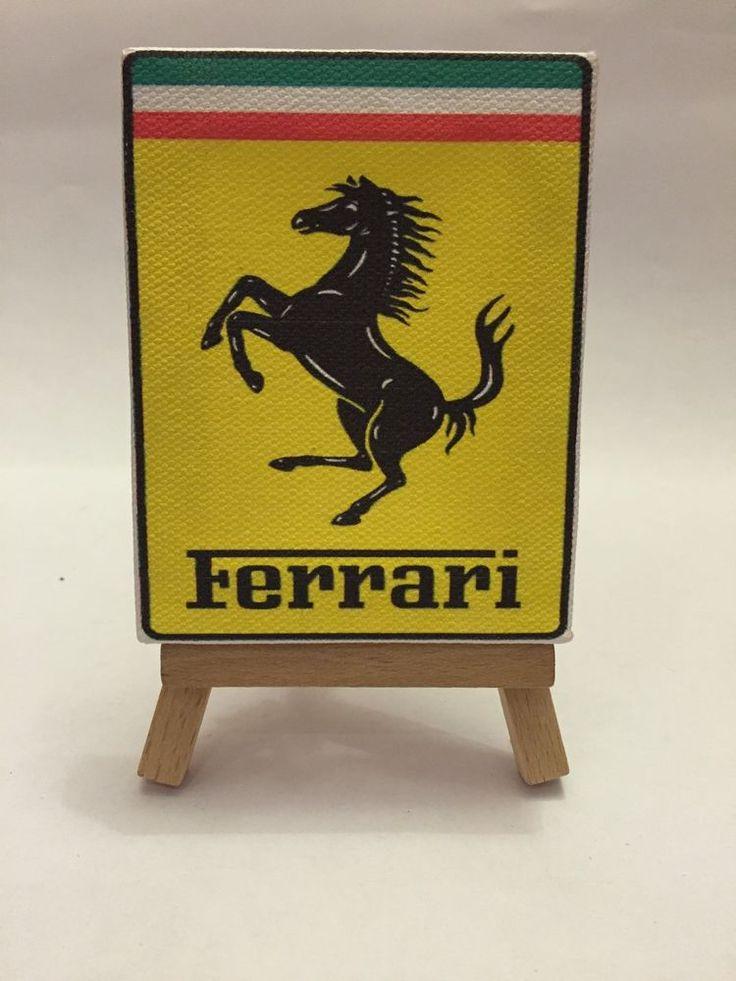Miniatura Quadro 9x7 Cm Logo Stemma Ferrari Con Cavalletto