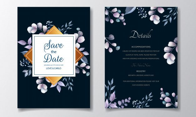 Set Of Wedding Invitation Cards With Blue Floral And Leaves Template Design Wedding Invitation Cards Wedding Invitation Card Template Wedding Invitations