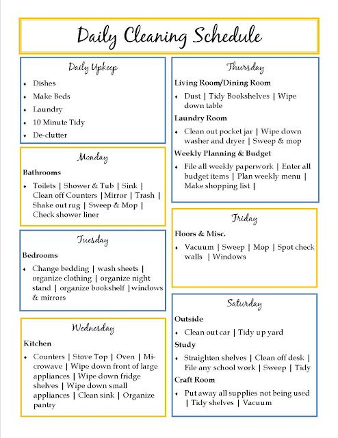 Daily Cleaning Schedule: Ideas, Week Clean, Stuff, Clean Lists, Clean Charts, Houses Clean, Cleaning Schedules, Daily Clean Schedule, Daily Cleaning