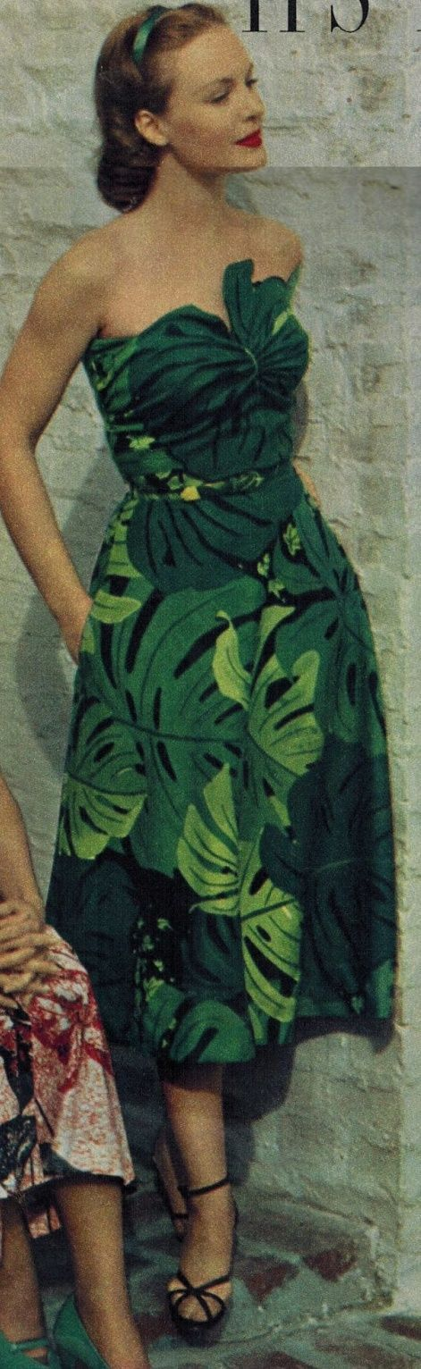 wonderful leafy green dress from the early 50s, vintage tropical fashion