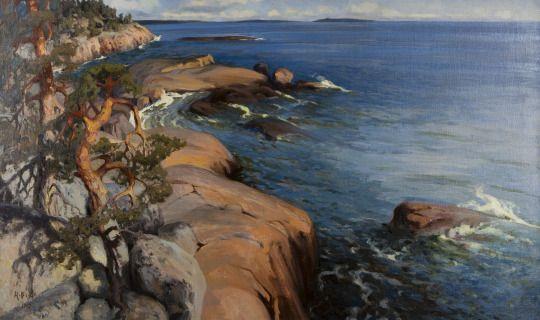 Helmi Biese (Finnish, 1867-1933), Rantamaisema Villingistä [Shore landscape, Villinki]. Oil, 78 x 125 cm.