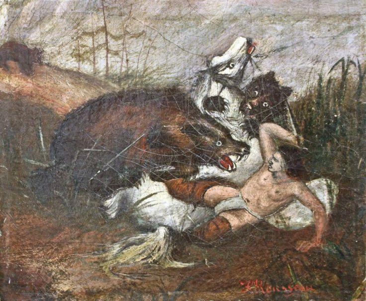 Henri Rousseau, dit le Douanier Rousseau (1844-1910), L'Attaque des ours, huile sur toile signée, 20,2 x 24,7 cm. Estimation : 40 000/60 000 €.  Samedi 19 juillet, Brest. Thierry - Lannon & Associés SVV. M. Schoeller.