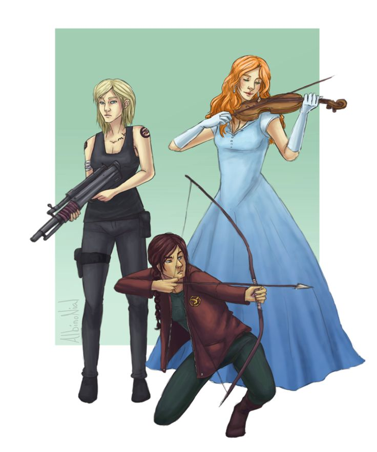 Katniss, Tris, and America. I love all these books but I feel like America and the other two are really different, so it's weird seeing them in a picture together. :)