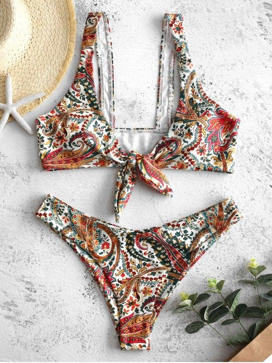 ea7a6742f Bohemian Flower Tied Bikini Set in 2019   Sand and Sun ☼   Bikini set,  Bikinis