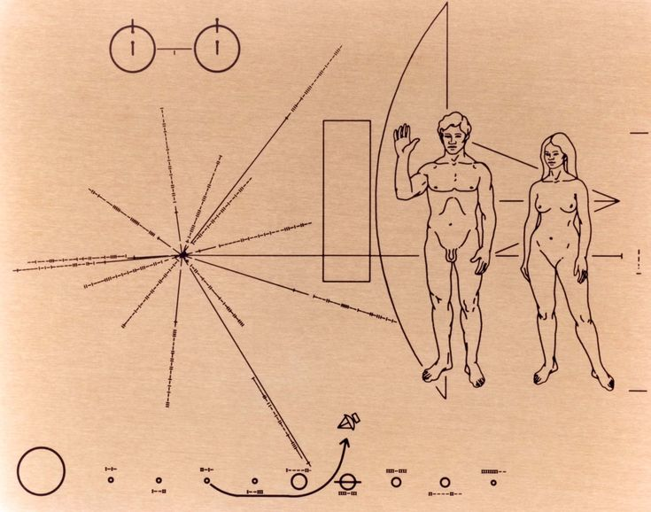 """Pioneer Plaque -  designed in 1971 and is 9"""" x 6"""". Its estimated that the satellite and plaque are currently nine and half billion miles away from Earth."""