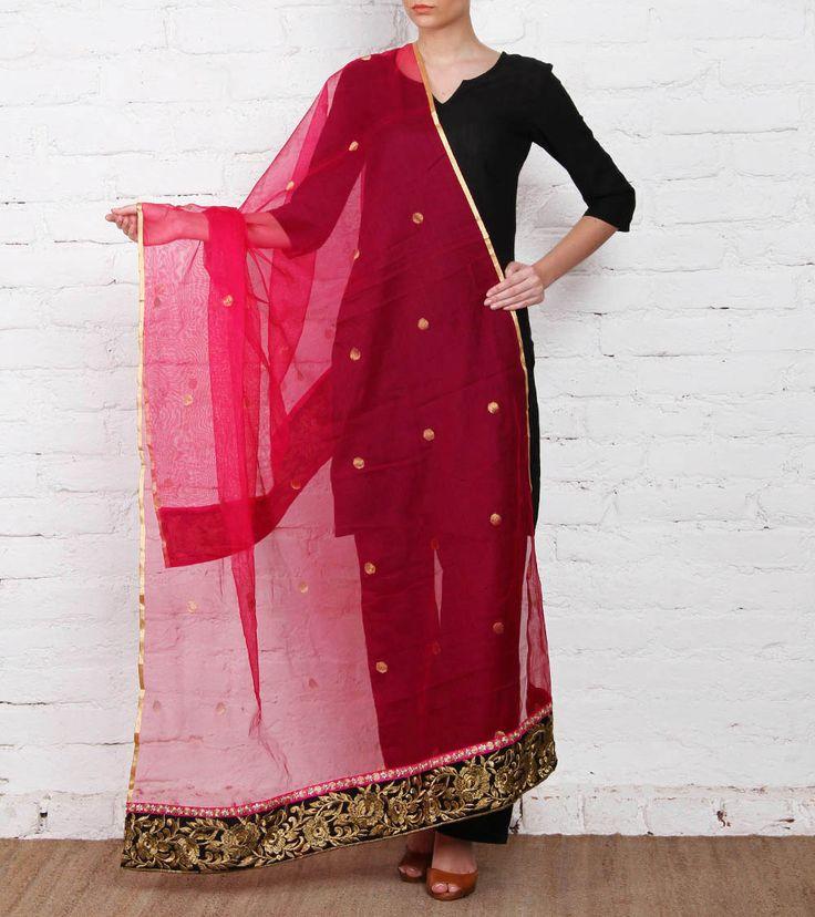 Pink Banarasi Net Dupatta