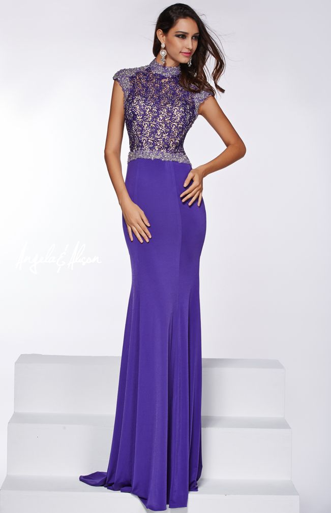 Style 51010 High neckline with capped sleeves and lace top. Beaded waist line with jersey skirt.   Prom, homecoming, formal or pageant