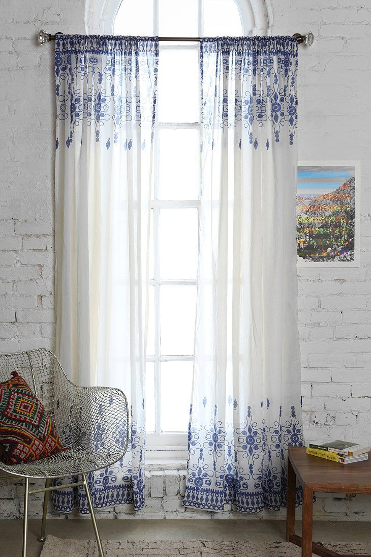 Blue bedroom window curtains - Magical Thinking Henna Curtain