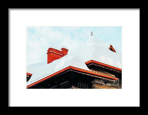House Roof Covered In Snow And Dangerous Icicles Framed Print