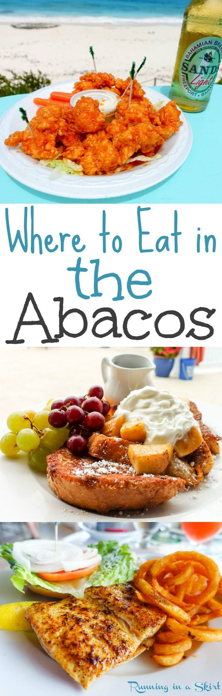 Where to Eat in the Abacos!  The best restaurants, roadside stands and dive bars in the Abaco in the Bahamas.  Great picks on the islands including lots of beach views... including Hope Town/ Elbow Cay, Marsh Harbor, Treasure Cay, Man o War Cay, Great Guana Cay, Little Harbor and Lubbers Quarters.  Including Pete's Pub, Nippers and Firefly Sunset Resort. / Running in a Skirt