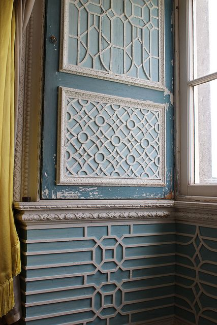 Internal shutters and window reveal decorated in Chinese fretwork by Luke Lightfoot in the Chinese Room at Claydon House, c.1760