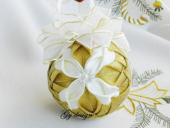 Gold ivory petals Christmas ornaments quilted ornaments gift deas Christmas decoration Christmas tree Christmas baubles xmas ornament