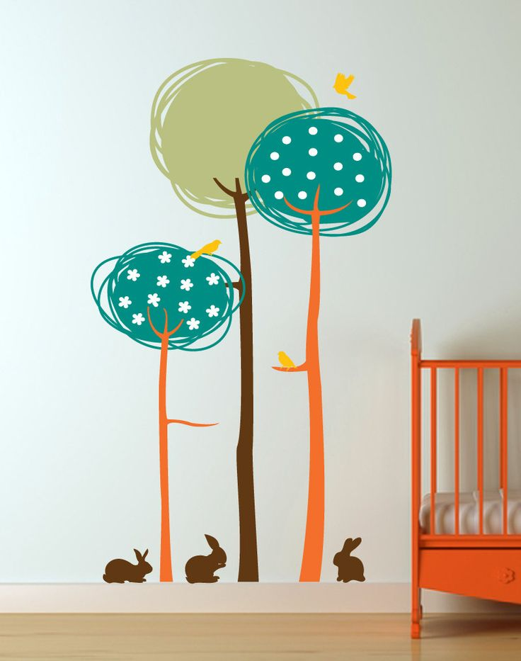 Abstract Trees with Birds and Bunnies Vinyl Wall Decal for Nursery, Kids, Childrens Room