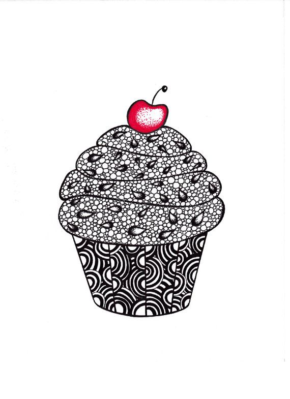 Cupcake Art Print Zentangle Inspired Ink Drawing by JoArtyJo
