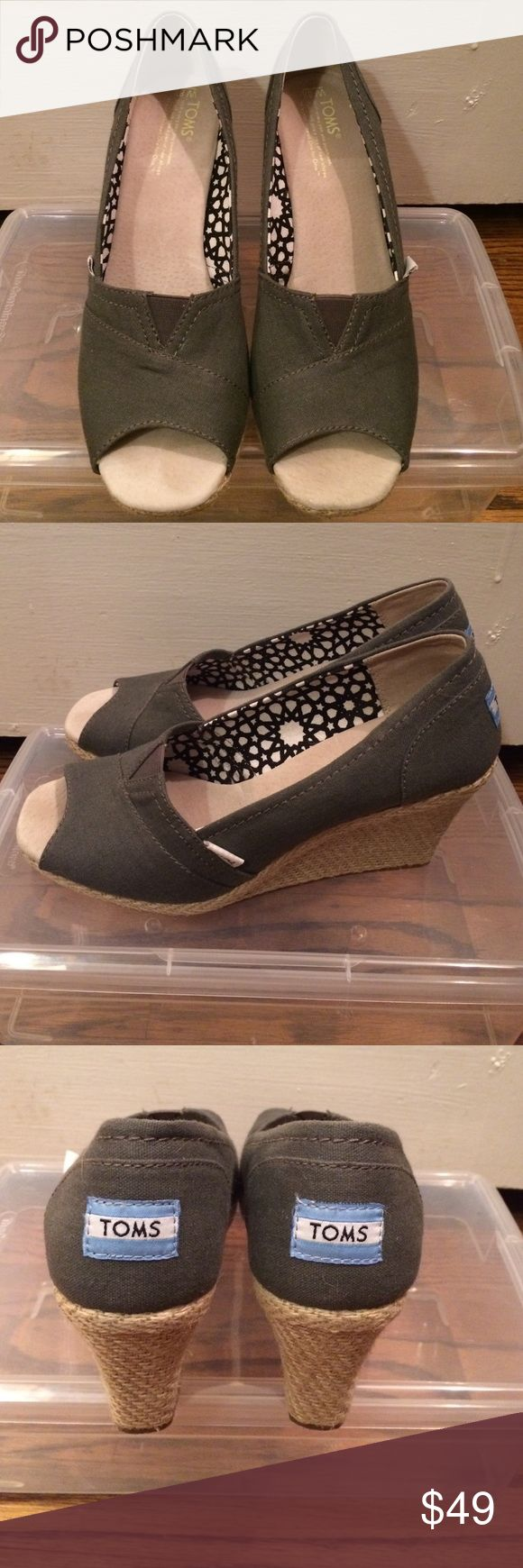 TOMS Wedges Size 8.5. 3.5 in wedge. Worn a few times. Like new. No trades or lowball offers please TOMS Shoes Espadrilles