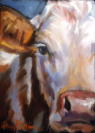 "Here are two new 5x7 cows. I really like the ""up close and personal"" faces. I'm working on lots more cows since I've had such a great respon..."
